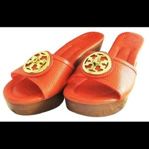 Tory Burch Red Selma Flame Tumbled Leather  Wedges